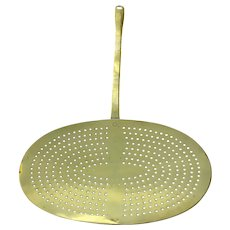 Late 19th Century English Brass Cooking Skimmer