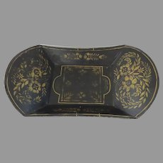 Tole Stencil Painted Decorated Tray Bowl Americana Folk Art 19th Century