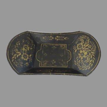 Tole Stencil Painted Decorated Tray Bowl Americana Folk Art 19th Century