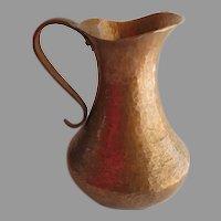 Vintage Hand Hammered Large Solid Copper Water Milk Beer Pitcher Jug