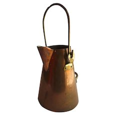 Vintage Copper and Brass Handled Watering Can Pot Pitcher Portugal Tagus