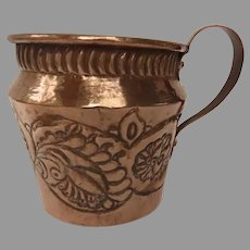 Hand Made 19th Century Repousse Copper Mug Cup Planter