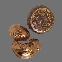 Group of Three (3) Vintage Copper Food Molds Jello Chicken Chick Grapes Fruit