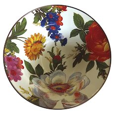 MacKenzie Childs Enamelware Breakfast Bowl Flower Garden Excellent
