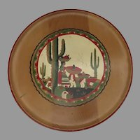 Vintage Mid Century 1950's Painted Wooden Tray Mexican Scene Cactus Harvest Folk Art