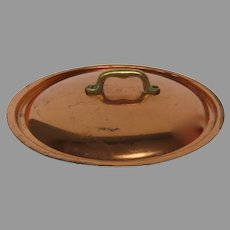 Vintage Copper Plated Riveted Brass Handle Replacement Pan Pot Lid