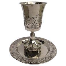 Vintage Large Karshi Jerusalem Motif Kiddush Cup & Plate Sabbath Passover