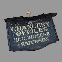1920's Chancery Offices Building Sign Gilt Cross