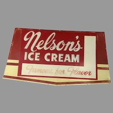 Large Embossed Metal Sign Nelson's Ice Cream Mid Century