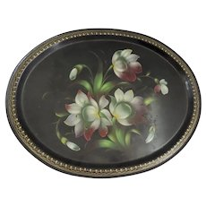 Vintage Oval Tole Tray Delicate Gilt Border Center Flowers