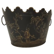 Vintage Black Gold Planter Jardiniere Chinoiserie