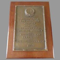 1955 Vintage Bronze Award Plaque Trophy for Leading District Alameda, Colorado Metropolitan Life Insurance