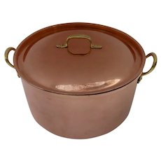 Vintage Large Tagus Copper Dutch Oven Sauce Pan Pot Lid Pot Made in Portugal