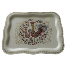 Vintage 1950's Metal Serving Tray Two Roosters Chickens by Social Supper