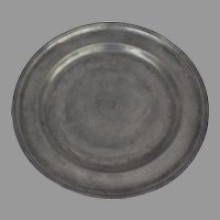 Large 18th Century English Pewter Charger with Engraved Owners Initials 13 3/4""