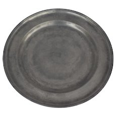 """Large 18th Century English Pewter Charger with Engraved Owners Initials 13 3/4"""""""