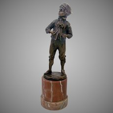 Bronze Sculpture by Max Lindenberg of Young Boy Signed