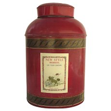 Late 19th Century English Oval Tole Tea Canister Red Paint