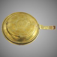 English Brass Bed Warmer with Pierced Lid
