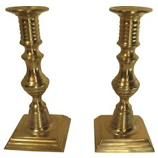 Pair of 19th Century Brass Push Up Candlesticks Square Base