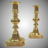 Early 19th Century English Brass Push Up Candlesticks Pair