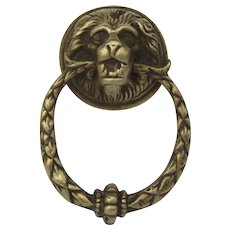 Vintage Cast Brass Pull Knob with Lion