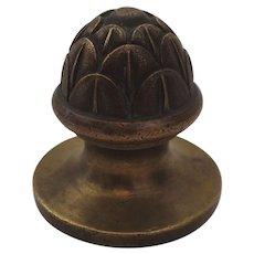 Cast Brass Finial Artichoke Foundry Mark 19th Century