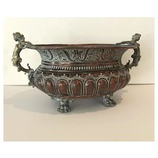 Wonderful 18th Century Copper Wine Cooler Jardiniere with Cast Figural Woman Handles & Paw Feet