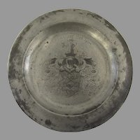"""Vintage 1900's Pewter Charger Plate Large 11 1/4"""" Diameter Swiss Coat of Arms Family Crest"""