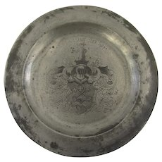 "Vintage 1900's Pewter Charger Plate Large 11 1/4"" Diameter Swiss Coat of Arms Family Crest"