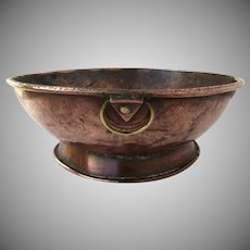 European 19th Century Copper Footed Bowl with Brass Ring