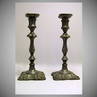 Pair of English Pewter 18th Century Candlesticks