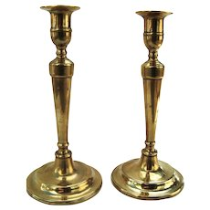 19th Century English Brass Federal Candlesticks Pair