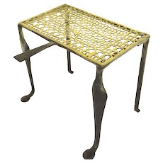 English Brass and Steel Fireplace Trivet with Wonderful Pierced Top.
