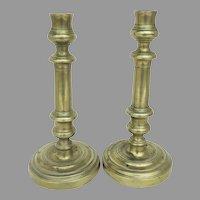 19th Century Italian Brass Candlesticks Pair
