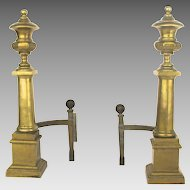 Pair of Wonderful Architectural Andirons 19th century