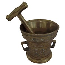 A fine and small Dutch Bronze Mortar and Pestle, Bronze, Latin, Kitchen, Medical, Science