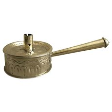 Early 19th Century Brass Fry Pan Candlestick Holder with Tinderbox