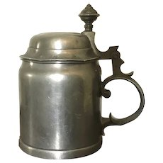 Dated 1905 German Pewter Beer Stein Tankard Mug with Hinged Lid