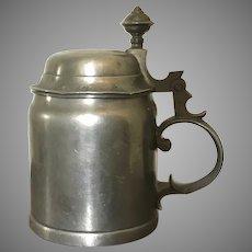 Dated 1905 German Pewter Beer Stein Tankard Mug with Hinged Lid