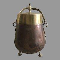 19th Century Dutch Copper Ash Coal Bucket Copper and Brass