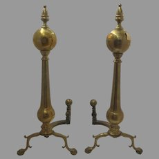"Monumental Brass Early 20th Century Andirons Large 32"" Tall - Ball Top Ball and Claw Foot"