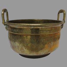 Moroccan Engraved Brass Basin Jardiniere Pot Side Handles