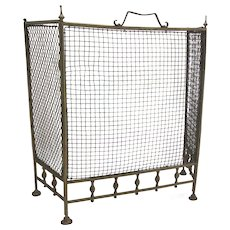 Folding Arts and Crafts Brass Fire Screen