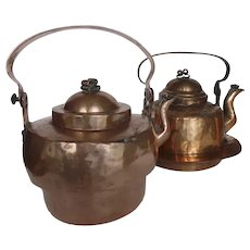 Two Copper Kettles Late 19th Early 20th Century