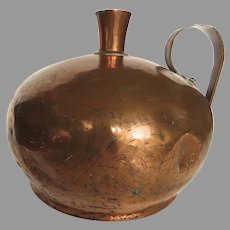 19th Century Seamed Construction Jug with Handle Etched Motif