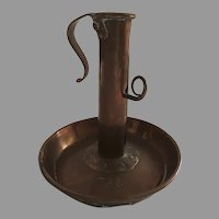 Rare Adjustable 18th Century Candlestick Chamberstick Sheet Copper Latch