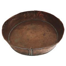 19th Century Hand Made Copper Pie Plate Pan Rustic Country