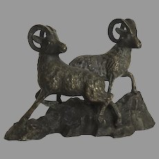 VINTAGE White Metal Bronze Finish Rocky Mountain Big Horn Sheep
