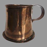 English Early 19th Century Copper Tankard Mug Cup